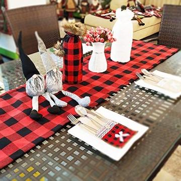 Jsdoin Weihnachts-Tischläufer, 35,6 x 68,6 cm, Rot und Schwarz, Büffelkariert, Karomuster, Tischläufer, klassische Weihnachts-Tischwäsche für Weihnachtsdekoration, Zuhause, Esszimmer, Party - 3