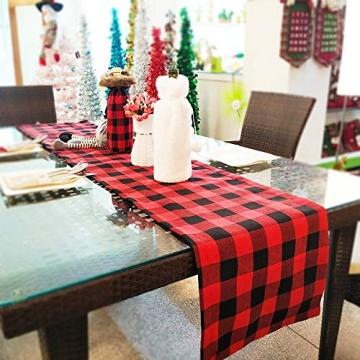 Jsdoin Weihnachts-Tischläufer, 35,6 x 68,6 cm, Rot und Schwarz, Büffelkariert, Karomuster, Tischläufer, klassische Weihnachts-Tischwäsche für Weihnachtsdekoration, Zuhause, Esszimmer, Party - 4