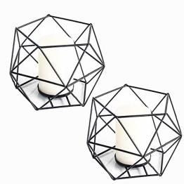 JUNGEN 2er Set 3D Geometrisch Kerzenständer Kerzenhalter Metall Vintage Kerzenständer Teelichthalter Deko Tischdeko für Hochzeit Weihnachten Wohnzimmer, 13 × 10 cm(Schwarz) - 1