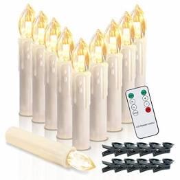 Kabellos Weihnachtskerzen, 20er LED Kerzen mit Fernbedienung, LED Warmweiß Christbaumkerzen für Weihnachtsbaum, Blinkeffekt - 1