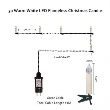Kerzen Lichterkette, THOWALL 12M 30er LED Weihnachtsbaum Lichterkette mit Klemmen, Flammenloses LED Kerzen Dekoration für Weihnachtsbaum, Weihnachtsdeko, Hochzeit, Geburtstags, Party, Warmweiß - 2