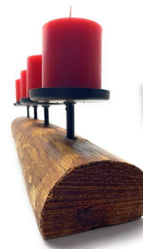 Kerzenleuchter rustikal Alpenhütte Shabby Landhaus Design Tempe 4er L51cm Material: Eukalyptus /lat. - 4