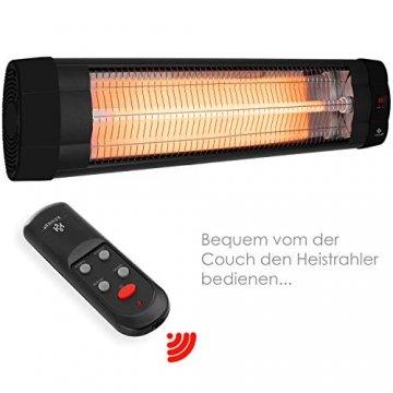 KESSER® Infrarotstrahler 2500 Watt Heizstrahler Terrassenstrahler Wärmestrahler mit Fernbedienung , Wandhalterung , Leistung: 2500W mit Fernbedienung (2500W mit Fernbedienung ( Schwarz )) - 2