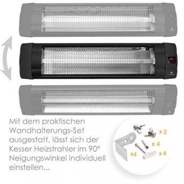KESSER® Infrarotstrahler 2500 Watt Heizstrahler Terrassenstrahler Wärmestrahler mit Fernbedienung , Wandhalterung , Leistung: 2500W mit Fernbedienung (2500W mit Fernbedienung ( Schwarz )) - 3