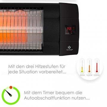 KESSER® Infrarotstrahler 2500 Watt Heizstrahler Terrassenstrahler Wärmestrahler mit Fernbedienung , Wandhalterung , Leistung: 2500W mit Fernbedienung (2500W mit Fernbedienung ( Schwarz )) - 4