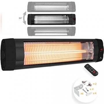 KESSER® Infrarotstrahler 2500 Watt Heizstrahler Terrassenstrahler Wärmestrahler mit Fernbedienung , Wandhalterung , Leistung: 2500W mit Fernbedienung (2500W mit Fernbedienung ( Schwarz )) - 1