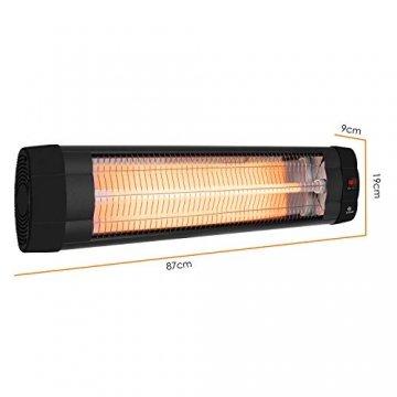 KESSER® Infrarotstrahler 2500 Watt Heizstrahler Terrassenstrahler Wärmestrahler mit Fernbedienung , Wandhalterung , Leistung: 2500W mit Fernbedienung (2500W mit Fernbedienung ( Schwarz )) - 6