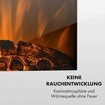 Klarstein Lausanne - elektrischer Kamin, E-Kamin, Kaminofen (Flammensimulation, LED, geräuscharm, 1000W oder 2000W Leistung, Dimm-Funktion, Fernbedienung, Wandmontage) vertikal, weiß - 5