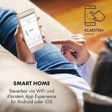 Klarstein Wonderwall Smart - Infrarot-Heizung - Wandheizung, Heizgerät, WiFi, Thermostat, Wochentimer, Abschaltfunktion, Allergiker-geeignet, antikweiß, 30x100cm, 300W - 2