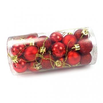 kleine Minni Dekokugeln Weihnachten Weihnachtskugeln Kugeln rot matt glänzend glitzernd 24 Stück 3,3cm rot - 3