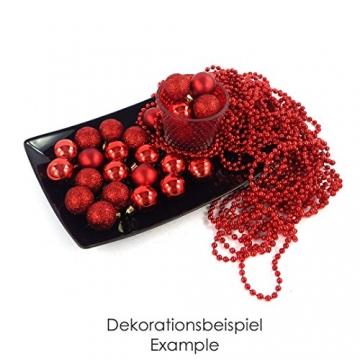 kleine Minni Dekokugeln Weihnachten Weihnachtskugeln Kugeln rot matt glänzend glitzernd 24 Stück 3,3cm rot - 4