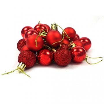 kleine Minni Dekokugeln Weihnachten Weihnachtskugeln Kugeln rot matt glänzend glitzernd 24 Stück 3,3cm rot - 6