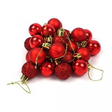 kleine Minni Dekokugeln Weihnachten Weihnachtskugeln Kugeln rot matt glänzend glitzernd 24 Stück 3,3cm rot - 7