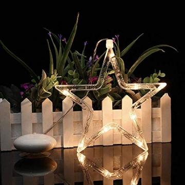 Kompassswc LED Fensterlicht Stern Form Fensterbild Saugnapf led Fenstersilhouette batteriebetrieben Weihnachtsbeleuchtung Weihnachten Dekoration Licht für Kinderzimmer Schaufenster Party (2 Stück) - 2