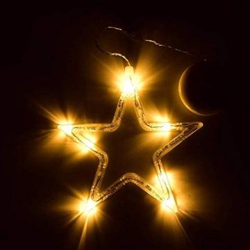 Kompassswc LED Fensterlicht Stern Form Fensterbild Saugnapf led Fenstersilhouette batteriebetrieben Weihnachtsbeleuchtung Weihnachten Dekoration Licht für Kinderzimmer Schaufenster Party (2 Stück) - 4