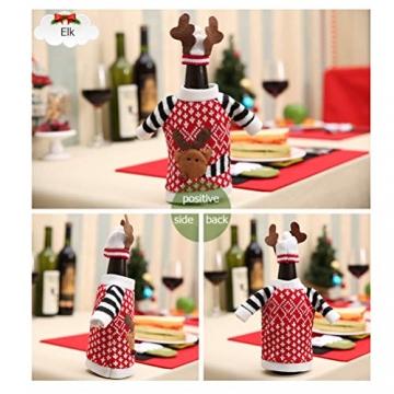 Koowaa Elk Wine Bottle Cover Weihnachtsweinflasche Deko-Etui Weihnachtsdekoration Weihnachtstischdekoration - 5