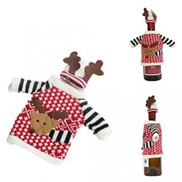 Koowaa Elk Wine Bottle Cover Weihnachtsweinflasche Deko-Etui Weihnachtsdekoration Weihnachtstischdekoration - 6