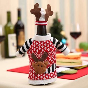 Koowaa Elk Wine Bottle Cover Weihnachtsweinflasche Deko-Etui Weihnachtsdekoration Weihnachtstischdekoration - 8