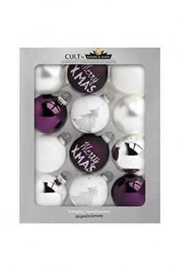 KREBS & SOHN 12er Set Weihnachtskugeln aus Glas - Christbaumschmuck Christbaumkugeln Weihnachtsdeko - Weiß, Lila, Silber, (8,0 cm), 1007222 - 1