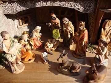 Krippenstall Weihnachtskrippe + Zubehör, NEU MIT BRUNNEN + Holzdeko + Tierfiguren + Stall KS70na-MF-SKR mit hochwertigen PREMIUM - 3
