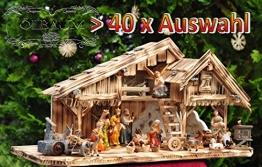 Krippenstall Weihnachtskrippe + Zubehör, NEU MIT BRUNNEN + Holzdeko + Tierfiguren + Stall KS70na-MF-SKR mit hochwertigen PREMIUM - 1
