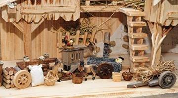 Krippenstall Weihnachtskrippe + Zubehör, NEU MIT BRUNNEN + Holzdeko + Tierfiguren + Stall KS70na-MF-SKR mit hochwertigen PREMIUM - 4