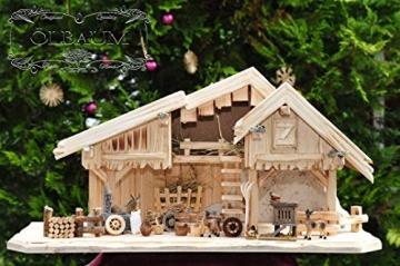 Krippenstall Weihnachtskrippe + Zubehör, NEU MIT BRUNNEN + Holzdeko + Tierfiguren + Stall KS70na-MF-SKR mit hochwertigen PREMIUM - 6