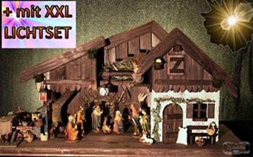 Krippenstall Weihnachtskrippe + Zubehör, NEU MIT BRUNNEN + Holzdeko + Tierfiguren + Stall KS70na-MF-SKR mit hochwertigen PREMIUM - 8