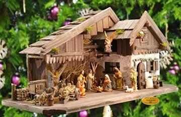 Krippenstall Weihnachtskrippe + Zubehör, NEU MIT BRUNNEN + Holzdeko + Tierfiguren + Stall KS70na-MF-SKR mit hochwertigen PREMIUM - 9
