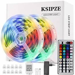 Ksipze LED Strip 10m RGB LED Lichterkette Streifen Lichtband mit Fernbedienung Farbwechsel Hell 5050 LED Band Leiste Lichterketten Klebeband Selbstklebende für Zuhause, Schrank Schlafzimmer(2 * 5M) - 1