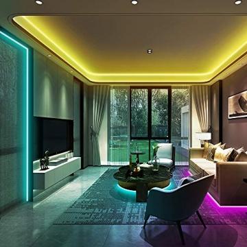Ksipze LED Strip 10m RGB LED Lichterkette Streifen Lichtband mit Fernbedienung Farbwechsel Hell 5050 LED Band Leiste Lichterketten Klebeband Selbstklebende für Zuhause, Schrank Schlafzimmer(2 * 5M) - 4