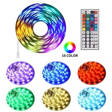 Ksipze LED Strip 15m RGB LED Lichterkette Streifen Licht mit Fernbedienung Beleuchtung Leiste Band für Schrankdeko, Party, Zuhause, Schlafzimmer, Farbwechsel - 5