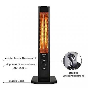 KUMTEL Infrarot Stand Heizstrahler mit Thermostat Infarotheizung für Innen & Außenbereich, 2 Heizstufen, Standgerät, Tragbar, Elegantes Design, 1200 Watt, Schwarz - 2
