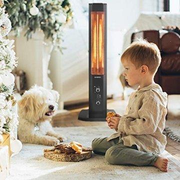 KUMTEL Infrarot Stand Heizstrahler mit Thermostat Infarotheizung für Innen & Außenbereich, 2 Heizstufen, Standgerät, Tragbar, Elegantes Design, 1200 Watt, Schwarz - 5