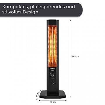 KUMTEL Infrarot Stand Heizstrahler mit Thermostat Infarotheizung für Innen & Außenbereich, 2 Heizstufen, Standgerät, Tragbar, Elegantes Design, 1200 Watt, Schwarz - 6