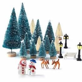 KUUQA 31 PCS Mini Weihnachtsbaum Modell Schnee Frost Bäume Flasche Pinsel Bäume Kunststoff Winter Schnee Ornamente Tabletop Modell Bäume für Weihnachten Party DIY Wohnkultur Tischdekoration - 1