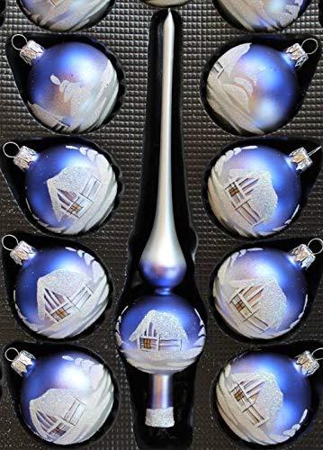 Lauscha Glas 40er Christbaumschmuck, Weihnachtsbaumkugel Set Blau weißes Haus, 38 Kugeln +Spitze+ Aufhänger, Handbemalt - 3