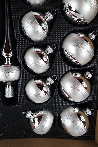 Lauscha Glas 40er Christbaumschmuck, Weihnachtsbaumkugel Set Silber mit Stern 38 Kugel+ Spitze+Aufhänger Handarbeit - 5