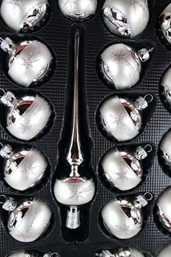 Lauscha Glas 40er Christbaumschmuck, Weihnachtsbaumkugel Set Silber mit Stern 38 Kugel+ Spitze+Aufhänger Handarbeit - 6