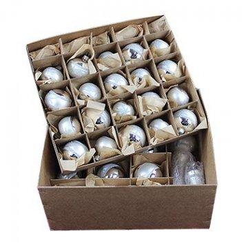 Lauscha Glas 40er Christbaumschmuck, Weihnachtsbaumkugel Set Silber mit Stern 38 Kugel+ Spitze+Aufhänger Handarbeit - 8