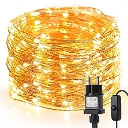 LE 20M LED Lichterkette Draht aus Kupferdraht, 200 LEDs, Wasserdicht IP65, Strombetrieben mit Stecker, Ideale Weihnachtsbeleuchtung für Außen, Innen, Zimmer, Party, Hochzeit Deko usw. Warmweiß - 1