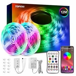 LED Band, 12M TOPYIYI RGB LED Strip LED Lichterkette mit 288 LEDs und Fernbedienung, App Bluetooth Kontroller, Sync zur Musik, Dimmbar Farbwechsel LED Streifen für Decke Küche Zimmer Wand Bett - 1