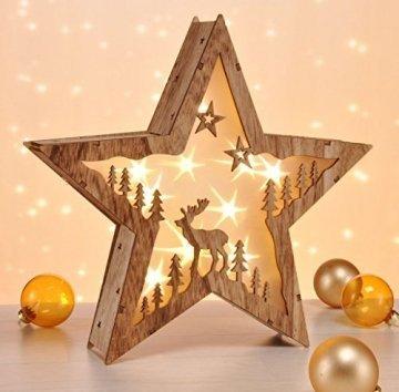 LED Dekoleuchte Stern im 3D Design - aus Echtholz - Holzstern mit 10 LED in warmweiß - 1