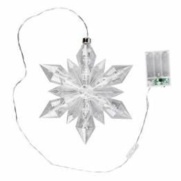 LED-Eiskristall   Stern   23 x 20 cm   25 LED-Lämpchen   warmweiß   indoor   transparent, klar   mit Timer-Funktion (6 Stunden AN   18 Stunden AUS)   Fenster-Deko zu Weihnachten - 1