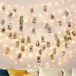 Led Fotoclips Lichterkette Mit 50 Klammern 10m 50 Foto Clips Lichterkette Dekoration für innen Haus Weihnachten Hochzeit Schlafzimmer Hängendes Foto Party - 1
