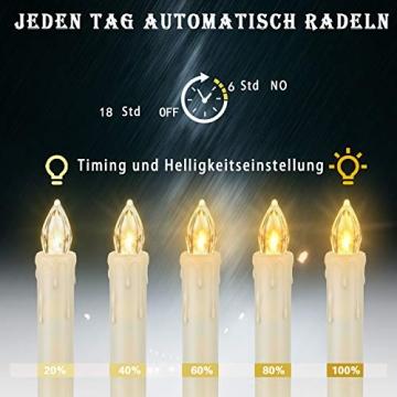 LED kerzen Weihnachtskerzen mit Fernbedienung Timer AAA-Batterien Dimmbar, Christbaumkerzen Kabellose Weihnachtsbaumkerzen für Weihnachtsbaum Weihnachtsdeko Hochzeit(30er) - 2