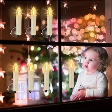 LED kerzen Weihnachtskerzen mit Fernbedienung Timer AAA-Batterien Dimmbar, Christbaumkerzen Kabellose Weihnachtsbaumkerzen für Weihnachtsbaum Weihnachtsdeko Hochzeit(30er) - 3