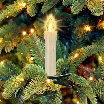 LED kerzen Weihnachtskerzen mit Fernbedienung Timer AAA-Batterien Dimmbar, Christbaumkerzen Kabellose Weihnachtsbaumkerzen für Weihnachtsbaum Weihnachtsdeko Hochzeit(30er) - 7