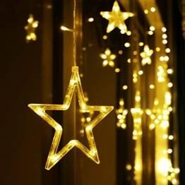 LED Lichterkette 12 Sterne, Lichtervorhang weihnachtslichter Sternenvorhang 138 LEDs 8 Modi Für Innen Außen, Weihnachten, Party, Hochzeit, Garten, Balkon, Deko (Warmweiß) - 1