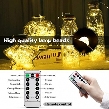 LED Lichterkette, 20m 200LED Lichterketten Lichter Lichterschlauch, wasserdicht 8 Modi Fernbedienung Außen Innen für Weihnachtsbeleuchtung Festliche Hochzeit Schlafzimmer Dekorationen (clear1) - 2